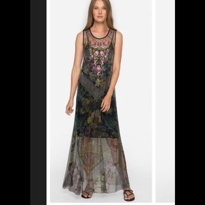 Johnny Was Sheer Embroidered Long Dress-no slip